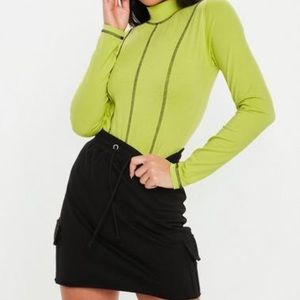 black loop back utility mini skirt
